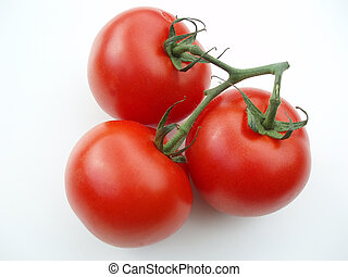 Three tomatoes with stalk