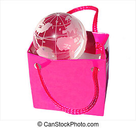 Shopping bag with transparent globe