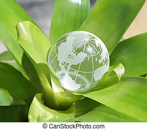 Budding world #1 - A crystal globe inside a plant; US...