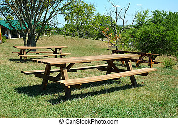 Picnic Tables - Picnic tables at a roadside park in...