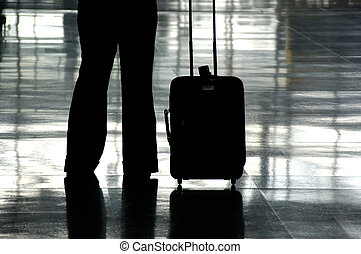 Airport Traveller - Traveller in an Airport with their...