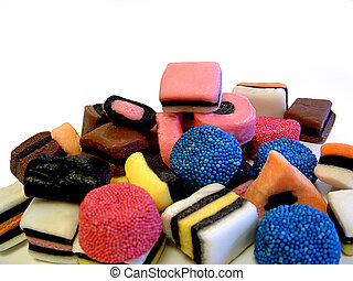 Licorice Candy - A pile of colorful licorince candy isolated...