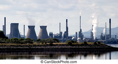 Industrial Skyline - Skyline of chimneys and coolers across...