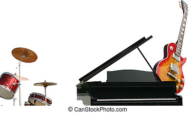 Musical Instruments - Drums, Black Grand Piano and guitar...