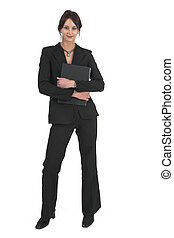 Businesslady 73 - Dark haired business woman with black file...