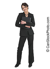 Businesslady #74 - Dark haired business woman with black...