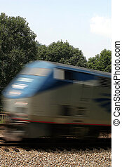 Passenger Train - A moving passenger train.