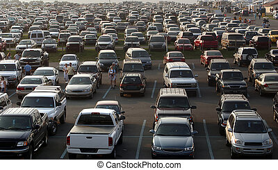 Sea Of Cars - A very full parking area... All copyright...