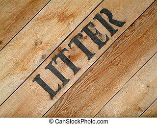 litter - Close up of a wooden litter bin.