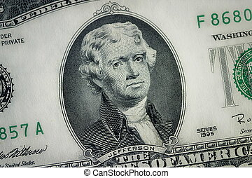 Two Dolar Billl - close up, two dollar bill