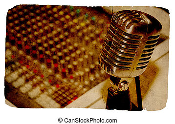 Vintage Microphone and Mixing Board in Background