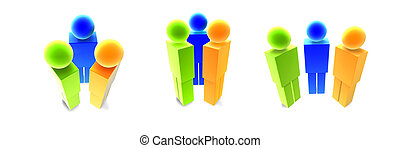 Icon People - Multi - Icon style 3D render Isolated on white...