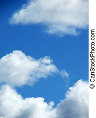 Sky - clouds - White fluffy clouds in blue sky