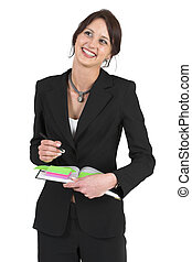 Businesslady #79 - Dark haired business woman with post-it...