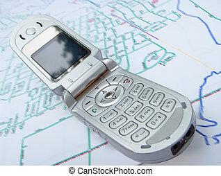cell phone map - cell phone with slight distortion on a...