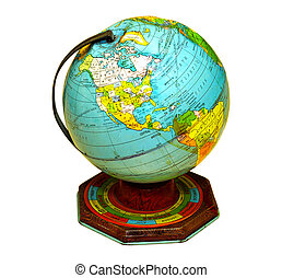 Tin Globe - Vintage Tin Globe With Clipping Paths.