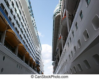 Between Two Cruise Ships - two cruise ships docked across...