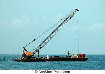 Beach Dredging - Photographed from a Florida beach Dredging...