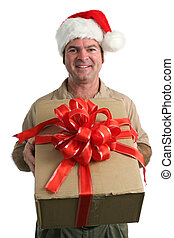 Christmas Delivery - a delivery man in a santa hat...