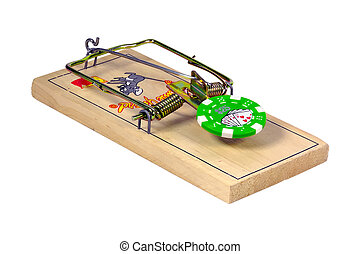 Gambling Addiction - Isolated Mousetrap with a Poker Chip as...