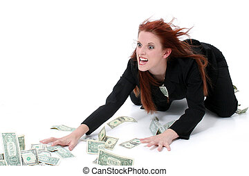 Business Woman Money - Crazed Business Woman Grabbing Money...