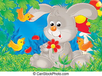 Rabbit - Illustration for children A series Cheerful animals...