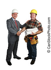 Job Well Done - an architect congratulating a construction...