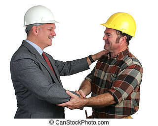Workplace Greeting - an engineer and a construction foreman...