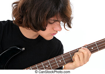 Teen Boy Bass Guitar - Fifteen Year Old Teen Boy Playing...