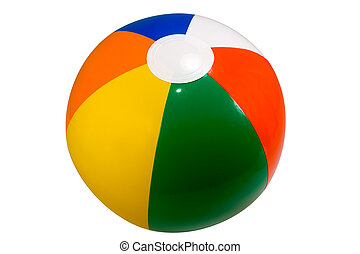 Beach Ball - Brightly colored beach ball isolated against a...
