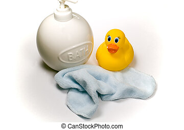 Bath Time for Baby - A soap dispenser, baby wash cloth and...