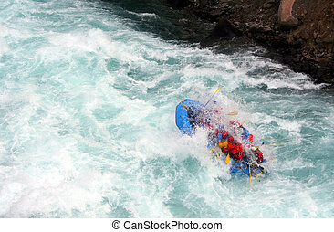 River Rafting - a raft blasting through a wave