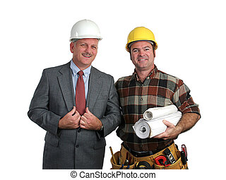 Engineer & Contractor - an engineer and a contractor posing...