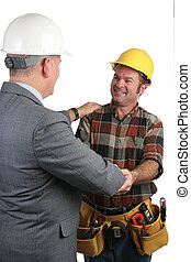 Fellowship At Work 2 - Two workmen sharing fellowship on the...