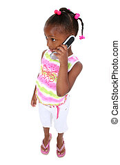 Child Girl Cellphone - Adorable young girl in summer clothes...