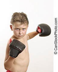 Knockout - Pow! Boy throws a punch eg sports activities,...