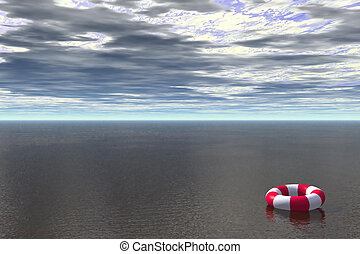 Lost - 3D render of life buoy floating in ocean
