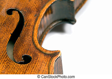 Violin f-hole - Closeup profile of side (ribs) of a...