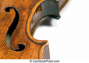 Violin f-hole - Closeup profile of side (ribs) of a...