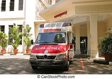 emergency ambulance in bay