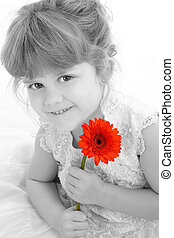 Girl Child Flower - Beautiful four year old girl holding...