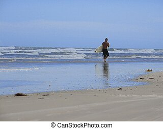 Surfer - Shot of a surfer walking on the shore at New Smyrna...