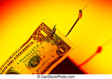 Money Bait - Dollar Bill on a Hook Phishing Concept - New...