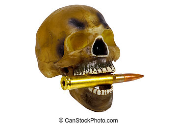 Bite The Bullet - Skull WIth Bullet in Mouth. Bite The...