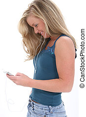 Teen Girl Music - Blonde Teen Girl Listening To Music Shot...