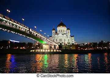 Moscow at night - Christ the Savior Cathedral - the main...