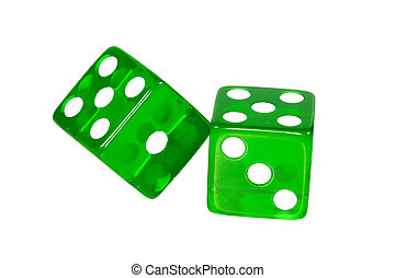 Green Dice - Clipping Path - Photo of Green Dice - Clipping...