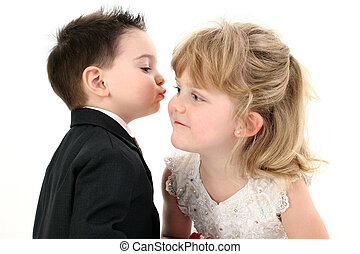 Boy Girl Child Kiss - Adorable Two Year Old Boy Puckered Up...