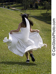 Runaway Bride 1 - A bride runs away in training shoes