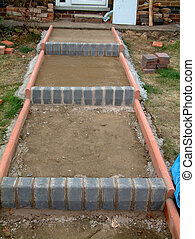 step construction - set of block brick steps under...